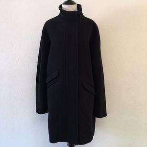 J. Crew Black Full Zip Cocoon Coat Italian Wool 10